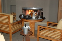 In-Room Dining on Patio by Fireplace